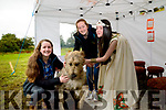 L-R Ciara Horgan, Sinead Horgan & Puck Pair Queen, Caitlin Horgan, meet Irish Wolfhound Brian Boru at the 11th Annual Kerry Bog Pony Show at The Red Fox, Ballintleave, Glenbeigh on Sunday