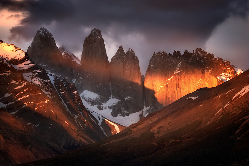 Glowing Towers. Torres Del Paine National Park, Chile