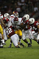 4 November 2006: Bo McNally and Michael Okwo on the tackle during Stanford's 42-0 loss to USC at Stanford Stadium in Stanford, CA.