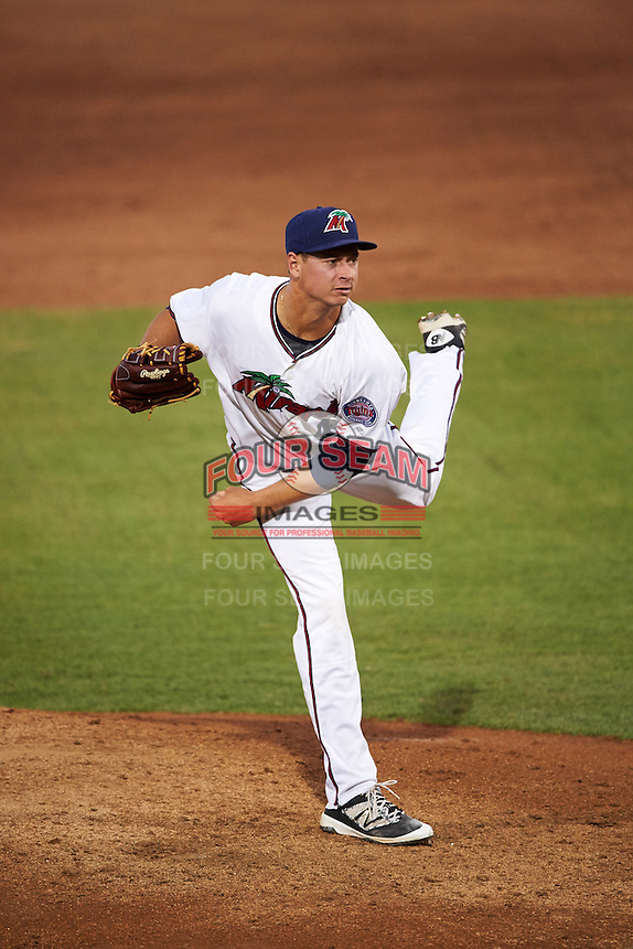 Fort Myers Miracle starting pitcher Stephen Gonsalves (41) delivers a pitch during a game against the Brevard County Manatees on April 13, 2016 at Hammond Stadium in Fort Myers, Florida.  Fort Myers defeated Brevard County 3-0.  (Mike Janes/Four Seam Images)
