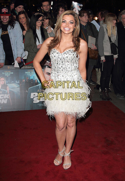 Louise Glover.World Premiere of 'Payback Season' at the Odeon Covent Garden, London, England..March 6th 2012.full length white dress silver hand on hip beads beaded feathers .CAP/ROS.©Steve Ross/Capital Pictures