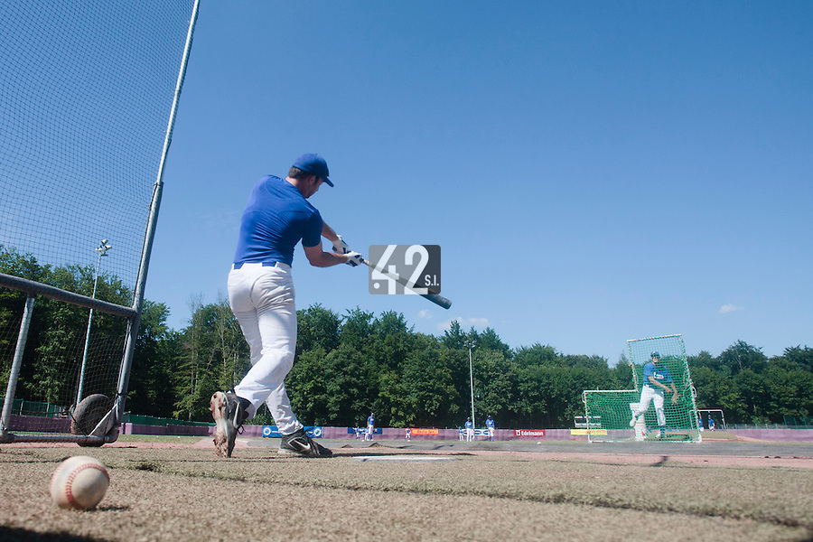 31 July 2010: Gaspard Fessy of Team France is seen at bat prior to Greece 14-5 win over France, at the 2010 European Championship, in Heidenheim, Germany.