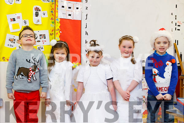 Opening night of the Balloonagh National School Christmas play on Monday night last, from the infants class, l-r Ethan Cushen, Art Mante Plotnikova, Edel Moore, Caoileann O'Carroll and Jamie Manning.