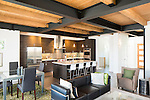 Wood ceiling and exposed metal beams in the great room of a contemporary home. This image is available through an alternate architectural stock image agency, Collinstock located here: http://www.collinstock.com