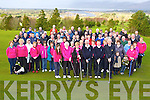 Mike Kennedy and Maura O'Boyle teeing off at the Killorglin Golf Club Captains Drive were on Sunday morning front row l-r: Eileen McCarthy Junior girl, Mary Lawlor Lady President, Maura O'Boyle Lady captain, Mike Kennedy Captain, Darragh Carmody Junior Captain and Brendan Campbell President