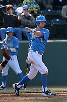 Chris Keck #1 of the UCLA Bruins bats against the Baylor Bears at Jackie Robinson Stadium on February 25, 2012 in Los Angeles,California. UCLA defeated Baylor 9-3.(Larry Goren/Four Seam Images)