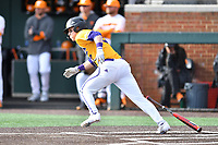 Western Illinois Dillon Sears (2) runs to first base during a game against the University of Tennessee at Lindsey Nelson Stadium on February 15, 2020 in Knoxville, Tennessee. The Volunteers defeated Leathernecks 19-0. (Tony Farlow/Four Seam Images)
