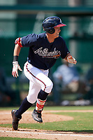 Atlanta Braves Ji-hwan Bae (27) runs to first base during an Instructional League game against the Detroit Tigers on October 10, 2017 at the ESPN Wide World of Sports Complex in Orlando, Florida.  (Mike Janes/Four Seam Images)