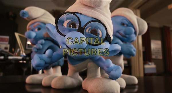 Gutsy (Alan Cumming), Brainy (Fred Armisen) and Grouchy Smurf (George Lopez).in The Smurfs.*Filmstill - Editorial Use Only*.CAP/FB.Supplied by Capital Pictures.