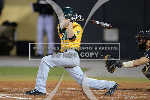 Siena Saints shortstop Tyler Martis (1) during the season opening game against the Central Florida Knights at Jay Bergman Field on February 14, 2014 in Orlando, Florida.  UCF defeated Siena 8-1.  (Copyright Mike Janes Photography)
