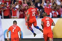 Action photo during the match Chile vs Panama, Corresponding to Group -D- America Cup Centenary 2016 at Lincoln Financial Field.<br /> <br /> Foto de accion durante el partido Chile vs Panama, Correspondiente al Grupo -D- de la Copa America Centenario 2016 en el  Lincoln Financial Field, en la foto: Eduardo Vargas celebra su gol de Chile<br /> <br /> <br /> 14/06/2016/MEXSPORT/Osvaldo Aguilar.