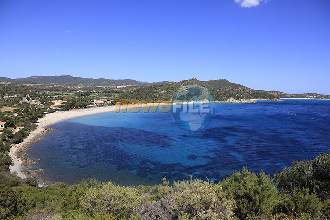 View of the stunning coastline at Villasimius during Stage 3 of the 100th edition of the Giro d'Italia 2017, running 148km from Tortoli to Cagliari, Sardinia, Italy. 7th May 2017.<br /> Picture: Eoin Clarke | Cyclefile<br /> <br /> <br /> All photos usage must carry mandatory copyright credit (&copy; Cyclefile | Eoin Clarke)