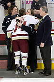 Courtney Kennedy (BC - Assistant Coach), Katelyn Kurth (BC - 14), Katie King (BC - Head Coach), Tom Peters - The Boston College Eagles and the visiting University of New Hampshire Wildcats played to a scoreless tie in BC's senior game on Saturday, February 19, 2011, at Conte Forum in Chestnut Hill, Massachusetts.