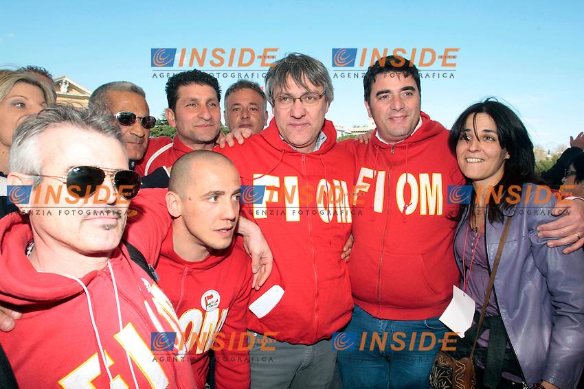 Maurizio Landini.Roma 09/03/2012 Manifestazione della FIOM contro il governo e in difesa dell'Articolo 18..Photo Samantha Zucchi Insidefoto