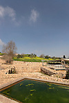 Israel, Ramat Hanadiv, Ein Tzur, ancient water system that includes a sheltered aqueduct and Roman bathhouse. In the Byzantine period.(324-638 CE), water from this natural spring flowed through a tunnel to Shuni