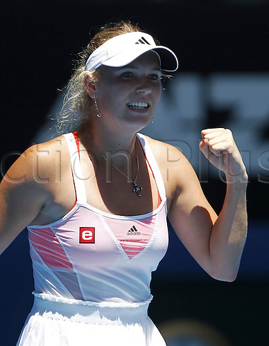 21 01 2011  Australian Open 2011 Melbourne Park ITF Grand Slam Tennis Tournament Caroline Wozniacki the makes The fist and cheering After her Victory cheering Emotion women Tennis WTA Tour Grand Slam Australian Open Melbourne