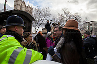 Matt Foot (Law and criminal defence solicitor and Justice Alliance member).<br /> <br /> London, 23/02/2015. Today, the &quot;Justice Alliance&quot; and their Chris Grayling puppet dresses as King John Lackland arrived in Westminster for the last day of a tree-day march called &quot;Relay For Rights&quot; from Runnymede, birth place of the Magna Carta, to Old Palace Yard, where they held the &quot;Not the Global Law Summit&quot; rally. At the end of the demonstration outside the Houses of Parliament, protesters marched peacefully to the Queen Elizabeth II Centre where the &quot;Global Law Summit&quot; was taking place. From the organisers Facebook page: &lt;&lt; [&hellip;] February 23rd 2015 is the 799th and 8 month anniversary of the signing of the Magna Carta. The Government is using this non-anniversary to host the Global Law Summit, &quot;a unique opportunity to explore what the future holds for global business and the rule of law&quot;. This back-slapping corporate jamboree, partly funded by the Ministry of Justice, comes at a time when the same department has waged a slash-and-burn campaign on advice and representation, leaving people without deep pockets unable to get justice in court. Magna Carta represents the oldest historical commitment to equal access to justice in Britain. We are here to remind the Government of its duty to provide access to justice for all, and not merely to the rich. [&hellip;]&gt;&gt;<br /> <br /> For more information please click here: http://bit.ly/1G6aHZx