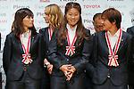 (L to R) Nahomi Kawasumi (Leonessa), Homare Sawa (Leonessa), Shinobu Ono (Leonessa), November 13, 2012 - Football / Soccer : Plenus Nadeshiko LEAGUE 2012 Award ceremony in Tokyo, Japan. (Photo by Yusuke Nakanishi/AFLO SPORT).