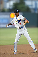 Brendon Davis (6) of the Rancho Cucamonga Quakes makes a throw from third base during a game against the Inland Empire 66ers at San Manuel Stadium on July 29, 2017 in San Bernardino, California. Inland Empire defeated Rancho Cucamonga, 6-4. (Larry Goren/Four Seam Images)