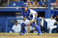 Dunedin Blue Jays  catcher Derrick Chung (1) waits for a throw during a game against the Brevard County Manatees on April 11, 2014 at Florida Auto Exchange Stadium in Dunedin, Florida.  Brevard County defeated Dunedin 5-2.  (Mike Janes/Four Seam Images)