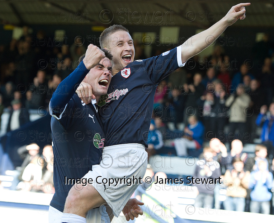 John Baird (right) celebrates with Brian Graham (left) after he scores Raith's second.