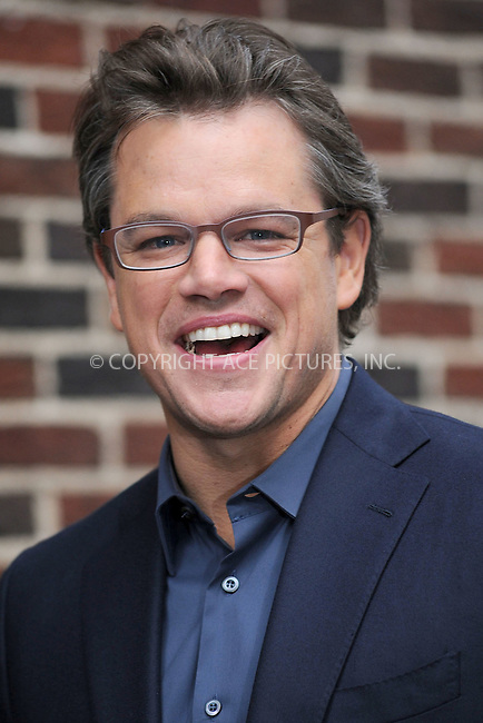WWW.ACEPIXS.COM . . . . . .October 12, 2010, New York City...Matt Damon tapes the Late Show with David Letterman on October 12, 2010 in New York City....Please byline: KRISTIN CALLAHAN - ACEPIXS.COM.. . . . . . ..Ace Pictures, Inc: ..tel: (212) 243 8787 or (646) 769 0430..e-mail: info@acepixs.com..web: http://www.acepixs.com .