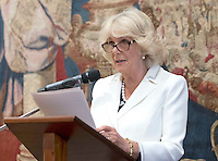 17 May 2016 - London, England - Camilla Duchess of Cornwall who is a patron of the charity, speaking during a reception to celebrate the 25th anniversary of Emmaus UK - which supports former homeless people by giving them a home within one of its Emmaus Communities - at the French Ambassador's Residence in Kensington, London. Photo Credit: ALPR/AdMedia