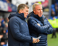 Portsmouth Manager Kenny Jackett right with assistant Joe Gallen during Portsmouth vs Gillingham, Sky Bet EFL League 1 Football at Fratton Park on 12th October 2019