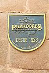 Paradores de Turismo, Parador hotel sign, medieval old town, Caceres, Extremadura, Spain