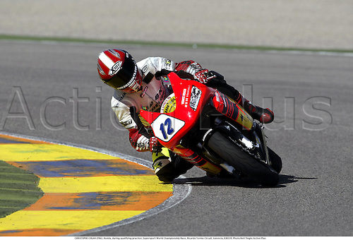 CHRISTOPHE COGAN (FRA), Honda, during qualifying practice, Supersport World Championship Race, Ricardo Tormo Circuit, Valencia, 030228. Photo:Neil Tingle/Action Plus ...2003  .man men superbikes motorcycle motorcycles bike bikes.     . ...  ..