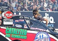 Feb. 22, 2013; Chandler, AZ, USA; Leeza Diehl , wife of funny car driver Jeff Diehl during qualifying for the Arizona Nationals at Firebird International Raceway. Mandatory Credit: Mark J. Rebilas-