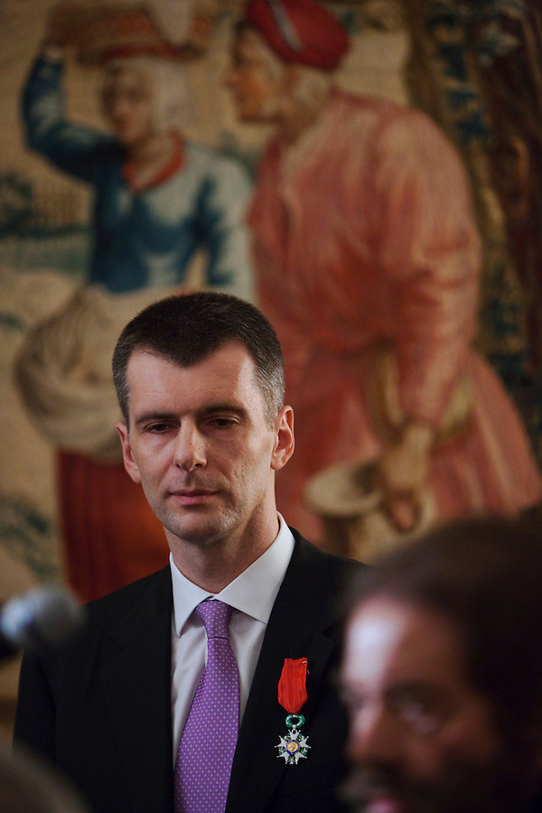 Moscow, Russia, 14/03/2011..Russian billionaire businessman Mikhail Prokhorov is awarded the Legion of Honour by ambassador Jean de Gliniasty at the French ambassador's residence.