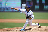 Durham Bulls starting pitcher Jose De Leon (37) delivers a pitch to the plate against the Columbus Clippers at Durham Bulls Athletic Park on June 1, 2019 in Durham, North Carolina. The Bulls defeated the Clippers 11-5 in game one of a doubleheader. (Brian Westerholt/Four Seam Images)