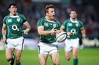 Photo: Richard Lane/Richard Lane Photography. .Barbarians v Ireland. The Gartmore Challenge. 27/05/2008. Ireland's Tommy Bowe passes.