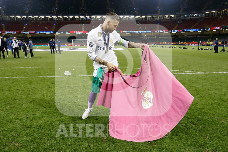 Sergio Ramos of Real Madrid celebrates with a dance after the UEFA Champions League Final match between Juventus and Real Madrid at the Principality Stadium on June 3rd 2017 in Cardiff, Wales.