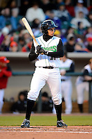 Dayton Dragons first baseman Seth Mejias-Brean #21 during a game against the Bowling Green Hot Rods on April 20, 2013 at Fifth Third Field in Dayton, Ohio.  Dayton defeated Bowling Green 6-3.  (Mike Janes/Four Seam Images)