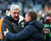 1st January 2020; St James Park, Newcastle, Tyne and Wear, England; English Premier League Football, Newcastle United versus Leicester City; Steve Bruce Manager of Newcastle United and Brendan Rogers Manager of Leicester City meet before the match - Strictly Editorial Use Only. No use with unauthorized audio, video, data, fixture lists, club/league logos or 'live' services. Online in-match use limited to 120 images, no video emulation. No use in betting, games or single club/league/player publications