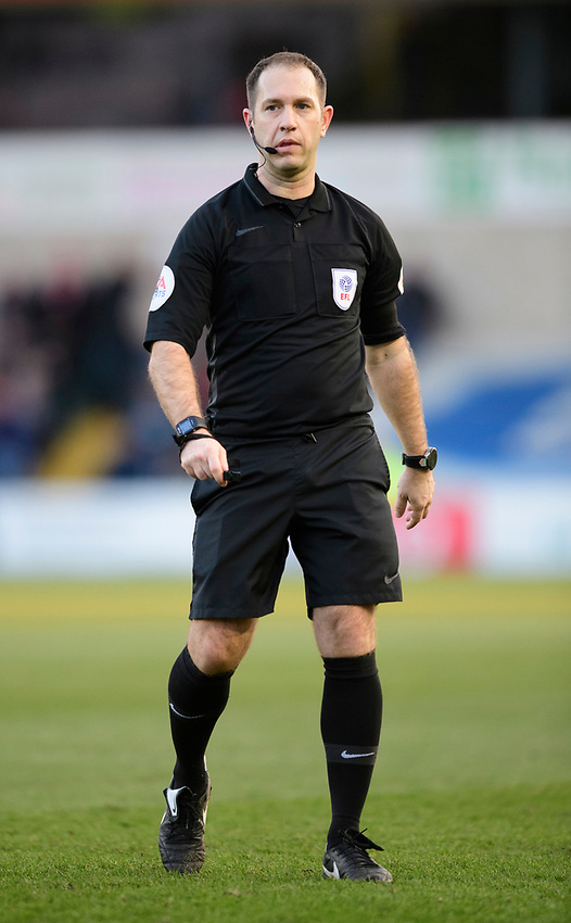 Referee Jeremy Simpson<br /> <br /> Photographer Chris Vaughan/CameraSport<br /> <br /> The EFL Sky Bet League Two - Lincoln City v Stevenage - Saturday 16th February 2019 - Sincil Bank - Lincoln<br /> <br /> World Copyright © 2019 CameraSport. All rights reserved. 43 Linden Ave. Countesthorpe. Leicester. England. LE8 5PG - Tel: +44 (0) 116 277 4147 - admin@camerasport.com - www.camerasport.com