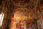 15th and 16th century frescoes in the small church of St. Martins in Montemezzo, a town in the mountains above Lake Como, Italy