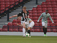 Blair Henderson gets the better of Callum McGregor as Darnell Fisher looks on in the Dunfermline Athletic v Celtic Scottish Football Association Youth Cup Final match played at Hampden Park, Glasgow on 1.5.13. ..