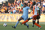 06 June 2015: Minnesota's Pablo Campos (BRA) (left) and Carolina's Mamadou Futty Danso (GAM) (right). The Carolina RailHawks hosted Minnesota United FC at WakeMed Stadium in Cary, North Carolina in a North American Soccer League 2015 Spring Season match. The game ended in a 1-1 tie.