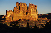 Courthouse Towers lit by warm sunset light-Arches National Park, Utah