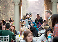 Occidental College students meet on Branca Patio during lunch on the first back from Winter break, Jan. 20, 2015.  (Photo by Marc Campos, Occidental College Photographer)