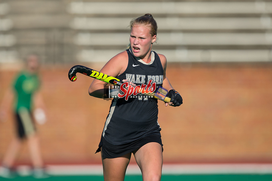 Veerle Bos (17) of the Wake Forest Demon Deacons during second half action against the North Carolina Tar Heels at Kentner Stadium on October 23, 2015 in Winston-Salem, North Carolina.  The Demon Deacons defeated the Tar Heels 3-2.  (Brian Westerholt/Sports On Film)