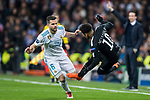 Neymar da Silva Santos Junior, Neymar Jr (R), of Paris Saint Germain gets tripped as he fights for the ball with Nacho Fernandez of Real Madrid during the UEFA Champions League 2017-18 Round of 16 (1st leg) match between Real Madrid vs Paris Saint Germain at Estadio Santiago Bernabeu on February 14 2018 in Madrid, Spain. Photo by Diego Souto / Power Sport Images