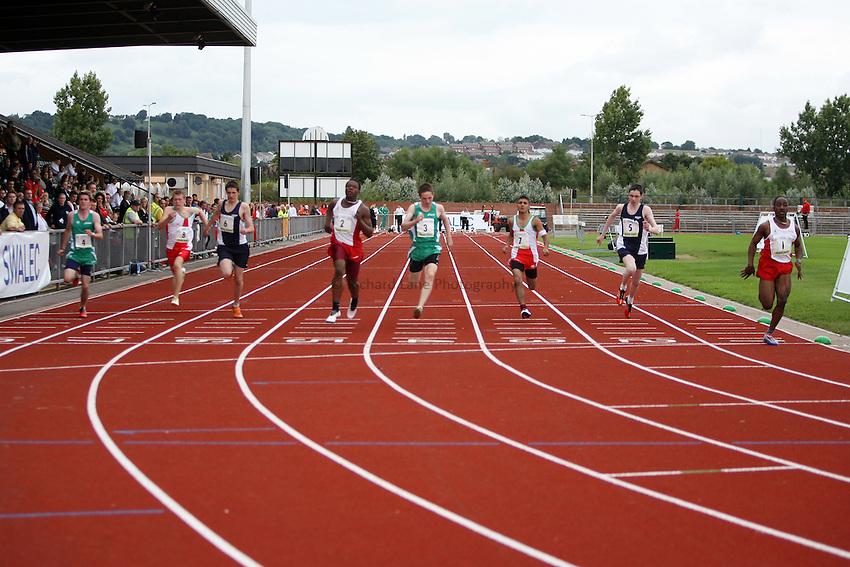 Photo: Rich Eaton...Schools International Athletic Board, Track & Field International Match, Newport. 21/07/2007. Joshua Patrick (far right) #1 of England wins gold in the boys 100m
