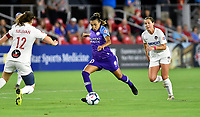 WASHINGTON, DC - AUGUST 24: Orlando Pride forward Marta (Marta Vieira da Silva) (10) takes a shot on goal during the National Women's Soccer League (NWSL) game between the Orlando Pride and Washington Spirit August 24, 2019 at Audi Field in Washington, D.C.. (Photo by Randy Litzinger/Icon Sportswire)