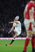 Owen Farrell (c) of England kicks a penalty during the Guinness Six Nations match between England and Wales at Twickenham Stadium on Saturday 7th March 2020 (Photo by Rob Munro/Stewart Communications)