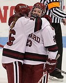 Lexie Laing (Harvard - 16), Val Turgeon (Harvard - 23) - The Harvard University Crimson tied the Boston University Terriers 6-6 on Monday, February 7, 2017, in the Beanpot consolation game at Matthews Arena in Boston, Massachusetts.