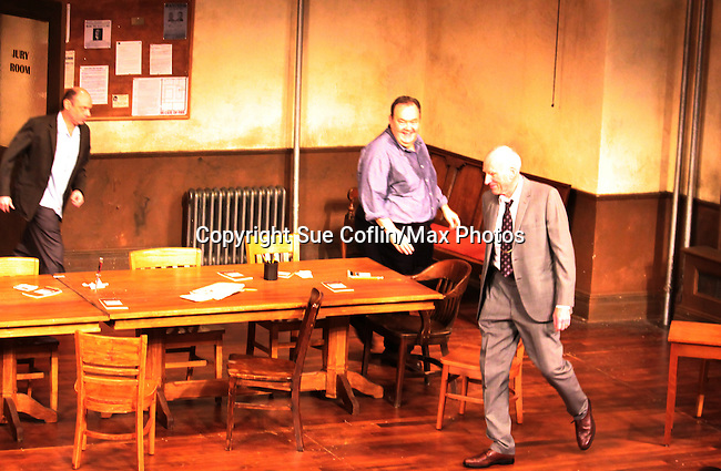 """Lee Sellers, David Schramm (Wings) middle and Guiding Light James Rebhorn """"Bradley Raines"""" at the curtain call of Twelve Angry Men on opening night, March 16, 2012 at the George Street Playhouse, New Brunswick, NJ.  (Photo by Sue Coflin/Max Photos)"""